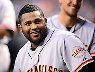 Sep. 14, 2012; Phoenix, AZ, USA; San Francisco Giants infielder Pablo Sandoval (48) reacts in the dugout during the game against the Arizona Diamondbacks at Chase Field.  Mandatory Credit: Jennifer Stewart-US PRESSWIRE