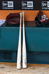 SAN FRANCISCO, CA - APRIL 27:  General view of baseball bats and a glove in the dugout before the game between the San Francisco Giants and the Cleveland Indians at AT&T Park on April 27, 2014 in San Francisco, California. The San Francisco Giants defeated the Cleveland Indians 4-1. (Photo by Jason O. Watson/Getty Images) *** Local Caption ***