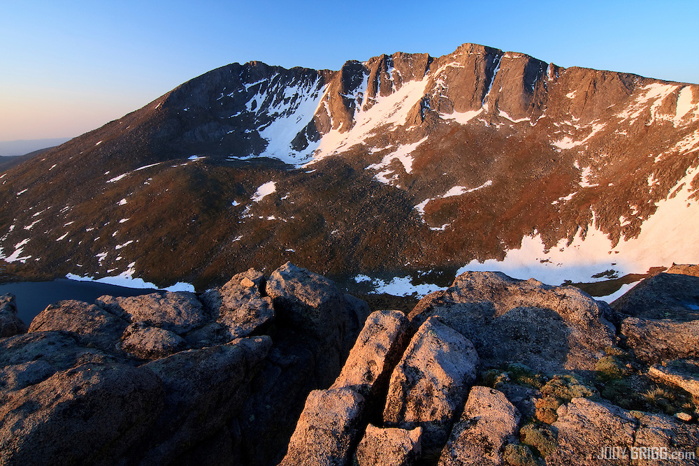 Sunrise on the Mount Evans 14,264ft cirque, Mount Evans Wilderness Area, Colorado.