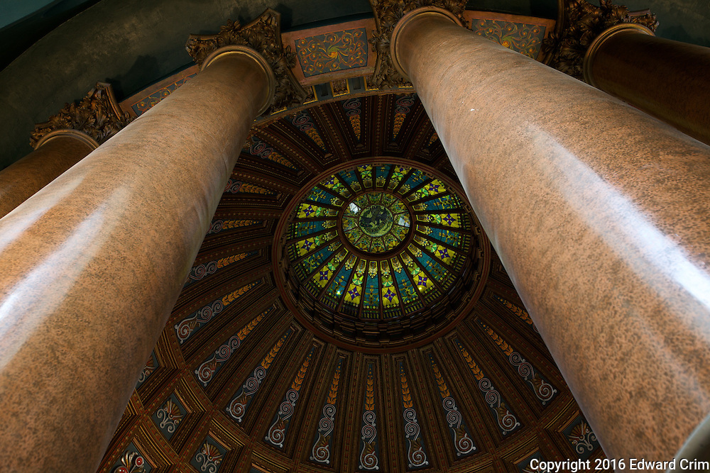 In the gallery at the top of the inner dome of the Illinois state capitol.