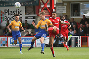 Mansfield Town's Danny Rose and Accrington's Liam Nolan during the EFL Sky Bet League 2 match between Accrington Stanley and Mansfield Town at the Fraser Eagle Stadium, Accrington, England on 19 August 2017. Photo by John Potts.