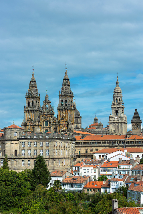 Catedral de Santiago de Compostela, Roman Catholic cathedral, cityscape from Alameda Park, Galicia, Northern Spain