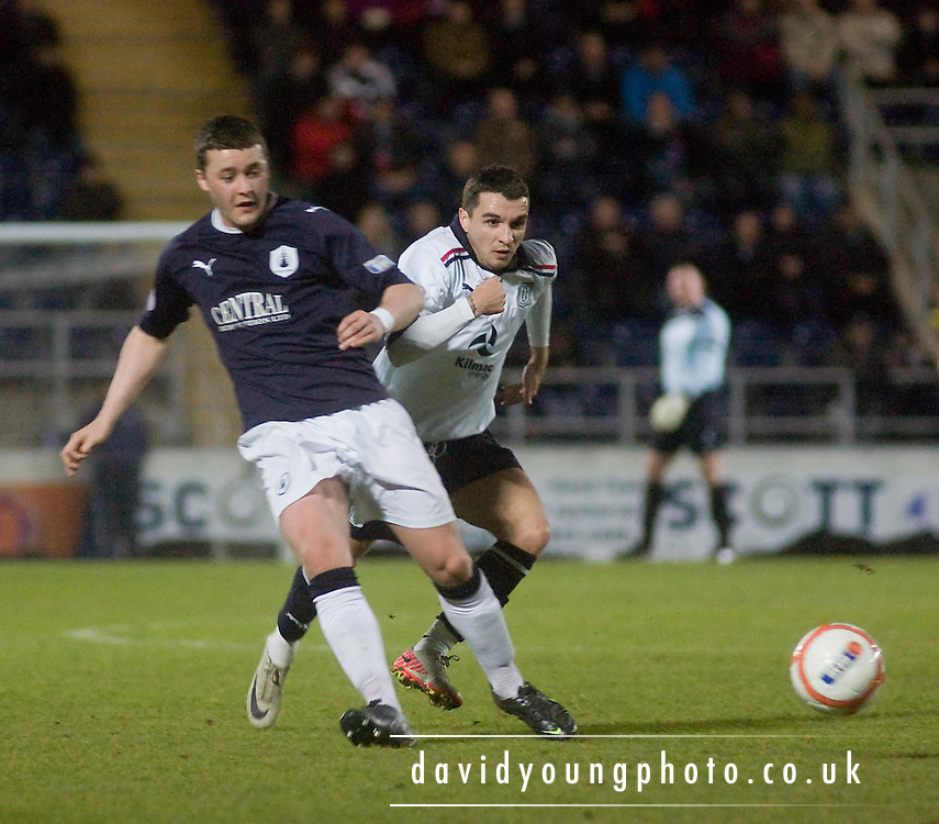 Falkirk's Thomas Scobbie  and Dundee's Jamie McCluskey - Falkirk v Dundee in the IRN BRU Scottish Football League First Division at The Falkirk Stadium..© David Young - .5 Foundry Place - .Monifieth - .Angus - .DD5 4BB - .Tel: 07765 252616 - .email: davidyoungphoto@gmail.com.web: www.davidyoungphoto.co.uk