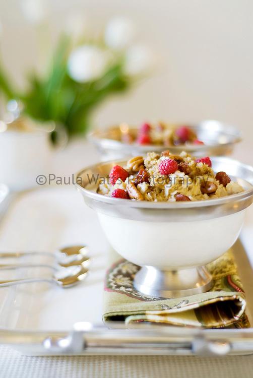 Healthy choice breakfast granola on tray