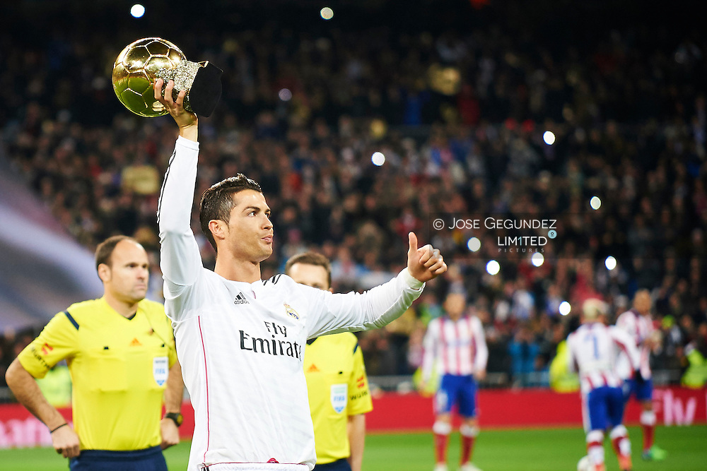 Cristiano Ronaldo during the Copa del Rey, round of 8 match between Real Madrid and Atletico de Madrid at Estadio Santiago Bernabeu on January 15, 2015 in Madrid, Spain.<br /> In this game, Cristiano Ronaldo, celebrates his Ballon d'Or with all Real Madrid fans