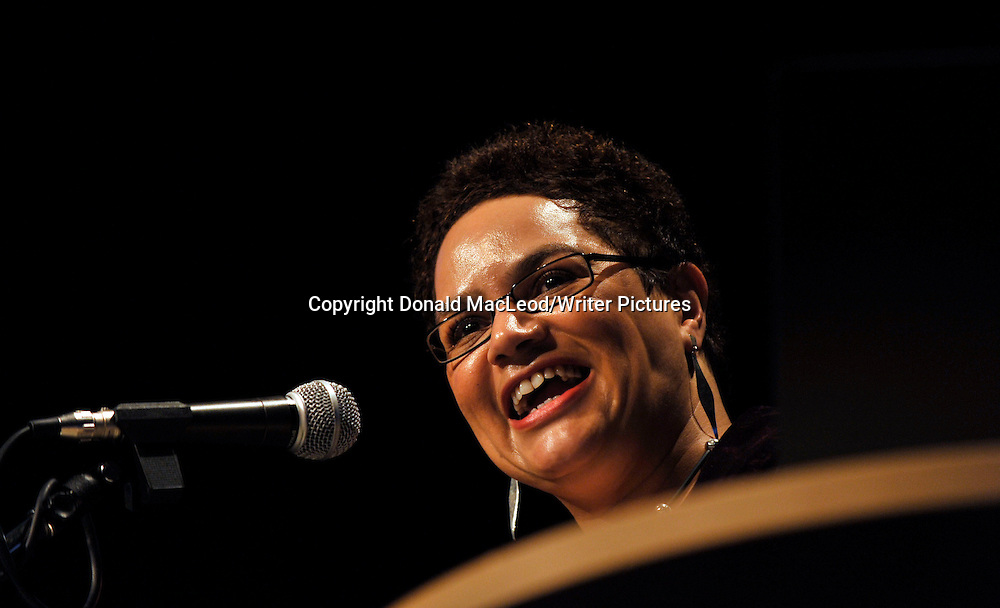 """Glasgow Aye Write! Festival - Scots born Jackie Kay who used her Aye Write! Authors Event to read from and discuss her recent memior """"Red Dust Road - in the Moir Hall at the Mitchell Theatre"""