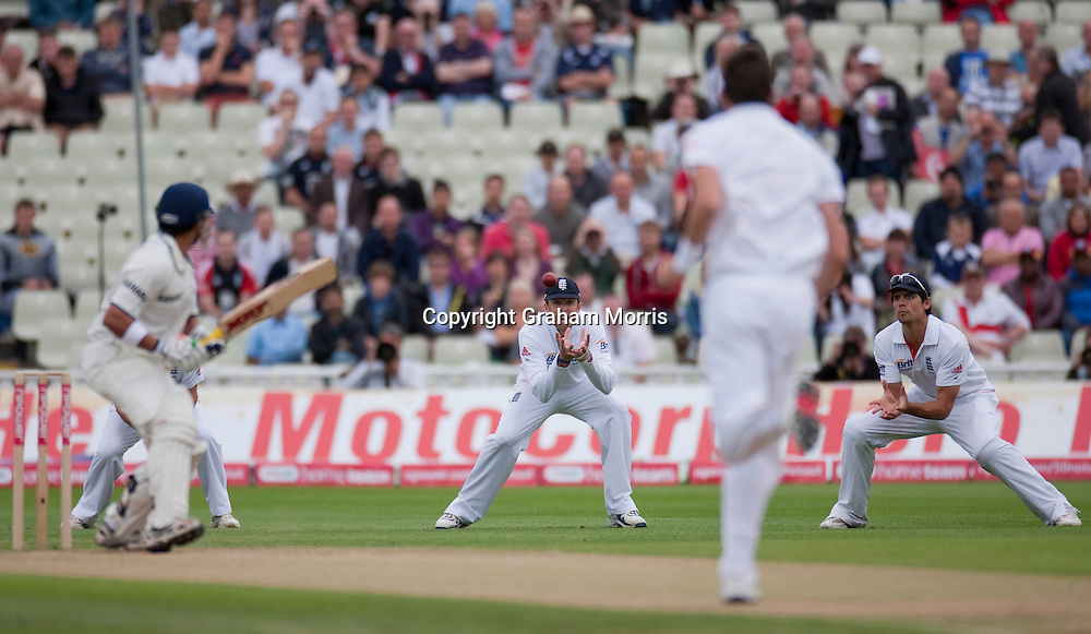 Graeme Swann catches Gautam Gambhir off James Anderson during the third npower Test Match between England and India at Edgbaston, Birmingham.  Photo: Graham Morris (Tel: +44(0)20 8969 4192 Email: sales@cricketpix.com) 13/08/11
