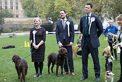 © Licensed to London News Pictures. 26/10/2017. LONDON, UK.  Members of Parliament (MP's) wait for results at the Westminster Dog of the Year Competition held in Victoria Tower Gardens. The Westminster Dog of the Year Competition is organised jointly by the Kennel Club and the Dogs Trust..  Photo credit: Vickie Flores/LNP