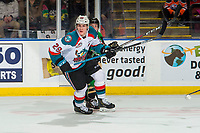 KELOWNA, CANADA - JANUARY 19: Nolan Foote #29 of the Kelowna Rockets skates against the Prince Albert Raiders  on January 19, 2019 at Prospera Place in Kelowna, British Columbia, Canada.  (Photo by Marissa Baecker/Shoot the Breeze)