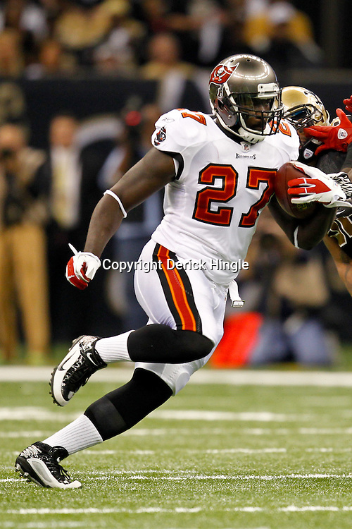 November 6, 2011; New Orleans, LA, USA; Tampa Bay Buccaneers running back LeGarrette Blount (27) against the New Orleans Saints during the first quarter of a game at the Mercedes-Benz Superdome. Mandatory Credit: Derick E. Hingle-US PRESSWIRE