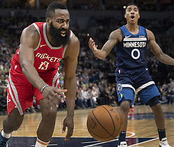 April 23, 2018 - Minneapolis, MN, USA - Houston Rockets' James Harden (13) is fouled in the third quarter as they play the Minnesota Timberwolves in Game 4 of their series Monday, April 23, 2018 at the Target Center in Minneapolis, Minn. The Rockets won, (Credit Image: © Carlos Gonzalez/TNS via ZUMA Wire)