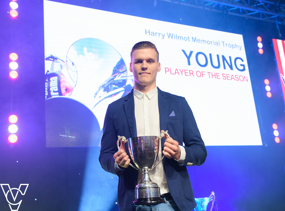 Lincoln City Football Club's 2016/17 End of Season Awards night - Championship Seasons Awards Dinner - held at the Lincolnshire Showground.<br /> <br /> AWAY PLAYER OF THE SEASON:  Sean Raggett with the Harry Wilmot Memorial Trophy for Young Player of the Season <br /> <br /> Picture: Chris Vaughan Photography for Lincoln City Football Club<br /> Date: May 20, 2017