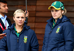 Dane van Niekerk of South Africa Women and Mignon du Preez of South Africa Women look dejected after their Women's World Cup Match with New Zealand Women in Derby is abandoned due to rain - Mandatory by-line: Robbie Stephenson/JMP - 28/06/2017 - CRICKET - County Ground - Derby, United Kingdom - South Africa Women v New Zealand Women - ICC Women's World Cup Match 6