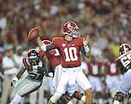 Ole Miss vs. Alabama quarterback AJ McCarron (10) at Bryant-Denny Stadium in Tuscaloosa, Ala. on Saturday, September 29, 2012.