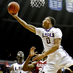 Jan 14, 2017; Baton Rouge, LA, USA; LSU Tigers guard Brandon Sampson (0) shoots against the Alabama Crimson Tide during the second half of a game at the Pete Maravich Assembly Center. Alabama defeated LSU 81-66. Mandatory Credit: Derick E. Hingle-USA TODAY Sports