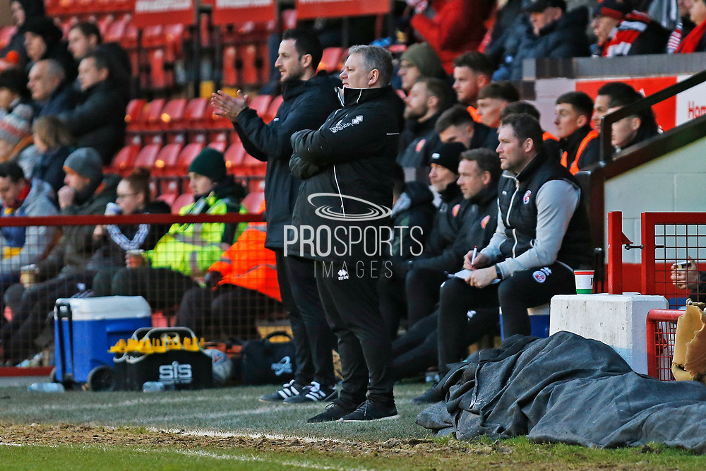 John Yems on the sideline during the EFL Sky Bet League 2 match between Walsall and Crawley Town at the Banks's Stadium, Walsall, England on 18 January 2020.