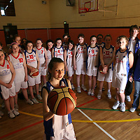 The Clare Cascaders Basketball U13 team with coaches Sean Devitt and Mary Gleeson who will compete in the Galway league final against Maree Basketball club.<br /> <br /> Photograph by Eamon Ward