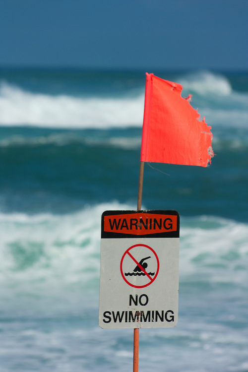 High surf warning at Sunset Beach, Oahu, HI