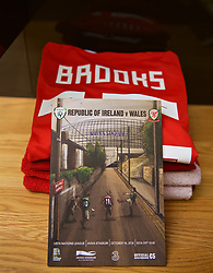 DUBLIN, IRELAND - Tuesday, October 16, 2018: The shirt of Wales' David Brooks laid out in the dressing room before the UEFA Nations League Group Stage League B Group 4 match between Republic of Ireland and Wales at the Aviva Stadium. (Pic by David Rawcliffe/Propaganda)