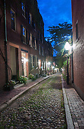 Boston Nighttime Vertical Shot with Cobblestone street