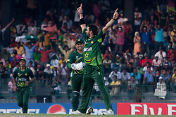©London News Pictures. 19/03/2011.Pakistan captain Shahid Afridi celebrates his wicket of Steve Smith at R.Premadasa Stadium Colombo Sri Lanka