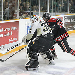 TRENTON, ON - Apr 22, 2016 -  Ontario Junior Hockey League game action between Trenton Golden Hawks and the Georgetown Raiders. Game 5 of the Buckland Cup Championship Series  at the Duncan Memorial Gardens in Trenton, Ontario. Daniel Urbani #30 of the Trenton Golden Hawks plays the puck as Bailey Molella #11 of the Georgetown Raiders closes in during the third period.<br /> (Photo by Tim Bates / OJHL Images)