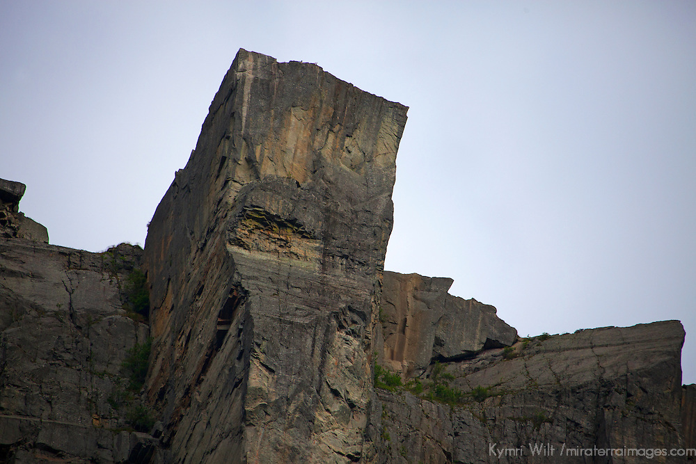 Europe, Norway, Lysefjord. Pulpit Rock, as seen from cruise below in Lysefjord.