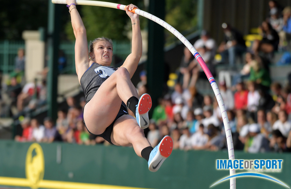 Jun 7, 2018; Eugene, OR, USA; Olivia Gruver of Kentucky wins the women's pole vault at 14-11 (4.55m)  during the NCAA Track and Field championships at Hayward Field.