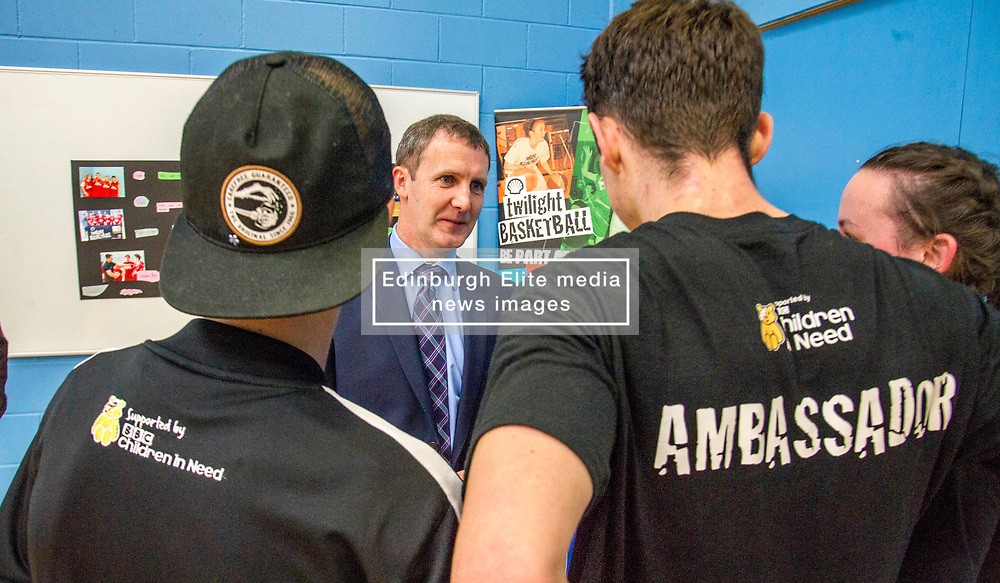 Pictured: The Minister met CashBack ambassadors Vincent Connelly (cap), Amanda Hiddleston and Duncan Watson.<br /> Today, Justice Secretary Michael Matheson visited the Raploch community campus and met young people involved in CashBack-funded basketball sessions. <br />  <br /> Ger Harley   EEm 11 July  2017