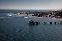 Malibu wharf and coastline, Los Angeles, California.