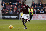 Hearts FC Forward Abiola Daud on the break during the Ladbrokes Scottish Premiership match between Heart of Midlothian and Kilmarnock at Tynecastle Stadium, Gorgie, Scotland on 27 February 2016. Photo by Craig McAllister.
