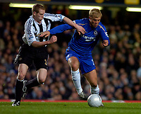 Photo: Alan Crowhurst.<br />Chelsea v Newcastle United. The FA Cup. 22/03/2006. Eidur Gudjohnsen (R) of Chelsea with Peter Ramage.