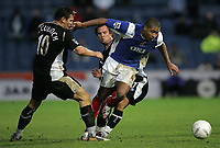 Photo: Lee Earle , Digitalsport<br /> Portsmouth v Wigan Athletic. The FA Cup. 06/01/2007. Portsmouth's Glen Johnson (R) battles his way through Lee McCulloch (L) and Kristofer Hæstad