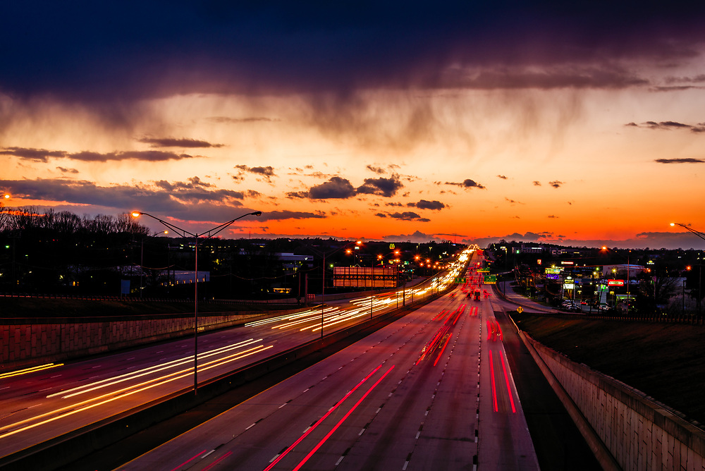Sunset traveling west on I-40 in Greensboro, North Carolina