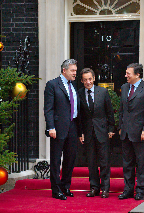 .London Dec 8  Prime Minister Gordon Brown meets EU President Mr Barroso and French President Mr Sarkozy at n10 Downing Street..Please telephone : +44 (0)845 0506211 for usage fees .***Licence Fee's Apply To All Image Use***.IMMEDIATE CONFIRMATION OF USAGE REQUIRED.*Unbylined uses will incur an additional discretionary fee!*.XianPix Pictures  Agency  tel +44 (0) 845 050 6211 e-mail sales@xianpix.com www.xianpix.com