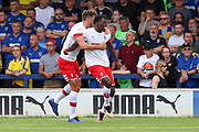 Rotherham United attacker Freddie Ladapo (10) celebrating after scoring goal to make it 0-1 during the EFL Sky Bet League 1 match between AFC Wimbledon and Rotherham United at the Cherry Red Records Stadium, Kingston, England on 3 August 2019.