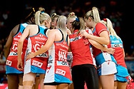 SYDNEY, AUSTRALIA - AUGUST 24: Swifts in a huddle at time out during the round 14 Super Netball match between the Swifts and the Queensland Firebirds at Qudos Bank Arena on August 24, 2019 in Sydney, Australia.(Photo by Speed Media/Icon Sportswire)