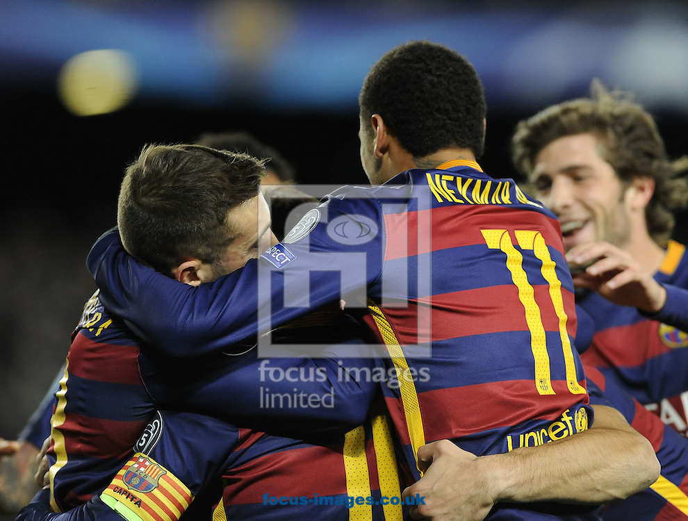 Lionel Messi of FC Barcelona is mobbed after scoring his second goal during the UEFA Champions League match at Camp Nou, Barcelona<br /> Picture by Stefano Gnech/Focus Images Ltd +39 333 1641678<br /> 24/11/2015