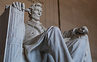 An interior closeup of the Abraham Lincoln sculpture in the Lincoln Memorial, Washington DC, USA.