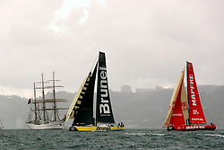 November 3, 2017 - Lisbon, Portugal - Team Brunel captained by Dutch Bouwe Bekking and MAPFRE team captained by Spanish Xabi Fernandez (L ) in action during the Volvo Ocean Race 2017-2018 In-port Race at the Tagus River in Lisbon, Portugal on November 3, 2017. (Credit Image: © Pedro Fiuza/NurPhoto via ZUMA Press)