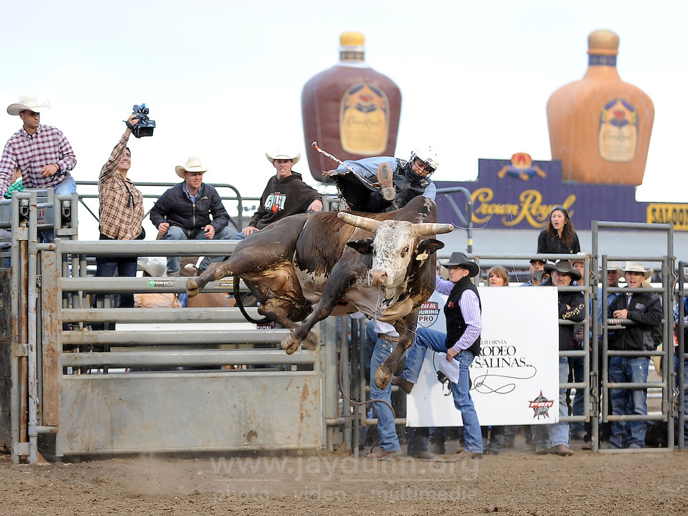 Andy Valdez and his bull win the prize for highest flight in the second round of Wednesday's 2013 PBR Touring Pro Division event at the Salinas Sports Complex.