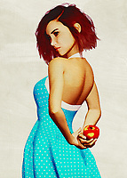 This charming fine art creation depicts a young woman with an apple. She is hiding the apple behind her back, leading us to wonder what she is up to. We look at her eyes. We study the way her brilliant blue dress seems to be in the middle of some sort of motion. She is a stunning young woman who is in complete control of her destiny. She is in good spirits. There is no question that whoever is with her is probably in good spirits, as well. This is a scene that can take you back to the prime moments of your youth.