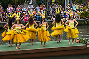"A dance of Tahiti in the Canoe Pageant, ""Rainbows of Paradise."" The Polynesian Cultural Center (PCC) is a major theme park and living museum, in Laie on the northeast coast (Windward Side) of the island of Oahu, Hawaii, USA. The PCC first opened in 1963 as a way for students at the adjacent Church College of Hawaii (now Brigham Young University Hawaii) to earn money for their education and as a means to preserve and portray the cultures of the people of Polynesia. Performers demonstrate Polynesian arts and crafts within simulated tropical villages, covering Hawaii, Aotearoa (New Zealand), Fiji, Samoa, Tahiti, Tonga and the Marquesas Islands. The Rapa Nui (Easter Island) exhibit features seven hand-carved moai (stone statues). The PCC is run by the Church of Jesus Christ of Latter-day Saints (LDS Church). For this photo's licensing options, please inquire."