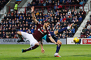 Hearts FC Defender Igor Rossi Branco fouled during the Ladbrokes Scottish Premiership match between Heart of Midlothian and Hamilton Academical FC at Tynecastle Stadium, Gorgie, Scotland on 7 November 2015. Photo by Craig McAllister.