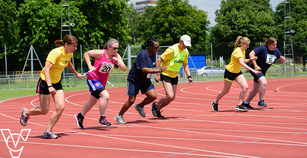 Metro Blind Sport's 2017 Athletics Open held at Mile End Stadium.  100m.  From left, Lisa Hendy with guide runner, Camille Elliot-Kamara with guide runner and Becky King with guide runner<br /> <br /> Picture: Chris Vaughan Photography for Metro Blind Sport<br /> Date: June 17, 2017