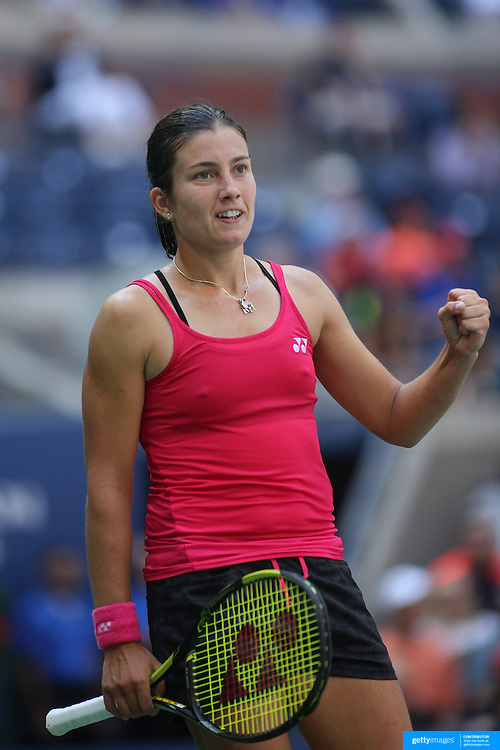 2016 U.S. Open - Day 7  Anastasija Sevastova of Latvia reacts during her victory against Johanna Konta of Great Britain in the Women's Singles round four match on Arthur Ashe Stadium on day six of the 2016 US Open Tennis Tournament at the USTA Billie Jean King National Tennis Center on September 4, 2016 in Flushing, Queens, New York City.  (Photo by Tim Clayton/Corbis via Getty Images)