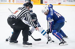 Valtteri Filippula of Finland vs Pierre-Edouard Bellemare of France during the 2017 IIHF Men's World Championship group B Ice hockey match between National Teams of Finland and France, on May 7, 2017 in Accorhotels Arena in Paris, France. Photo by Vid Ponikvar / Sportida