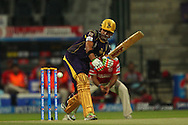 Gautam Gambhir captain of the Kolkata Knight Riders during match 15 of the Pepsi Indian Premier League 2014 Season between The Kings XI Punjab and the Kolkata Knight Riders held at the Sheikh Zayed Stadium, Abu Dhabi, United Arab Emirates on the 26th April 2014<br /> <br /> Photo by Ron Gaunt / IPL / SPORTZPICS