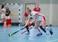 ROTTERDAM -  Lisa Scheerlinck (OR) . dames Hurley-Oranje Rood, Hurley plaatst zich voor halve finales NK  ,hoofdklasse competitie  zaalhockey.   COPYRIGHT  KOEN SUYK