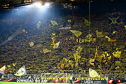 DORTMUND, GERMANY - Thursday, April 7, 2016: Borussia Dortmund's supporters on the Yellow Wall [Gelbe Wand Südtribüne] during the UEFA Europa League Quarter-Final 1st Leg match against Liverpool at Westfalenstadion. (Pic by David Rawcliffe/Propaganda)